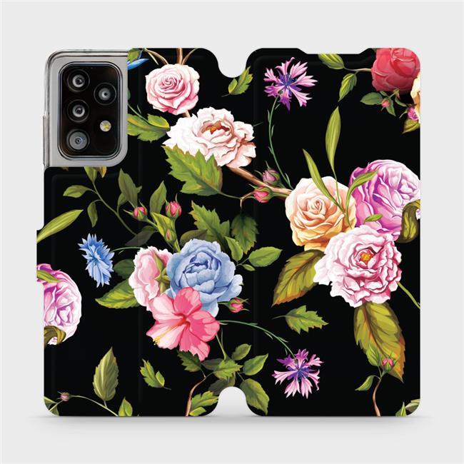 Flipové pouzdro Mobiwear na mobil Samsung Galaxy A52 / A52 5G / A52s 5G - VD07S Růže a květy na černém pozadí