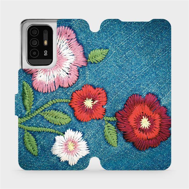 Flip pouzdro Mobiwear na mobil OPPO Reno5 Z 5G - MD05P Džínové květy