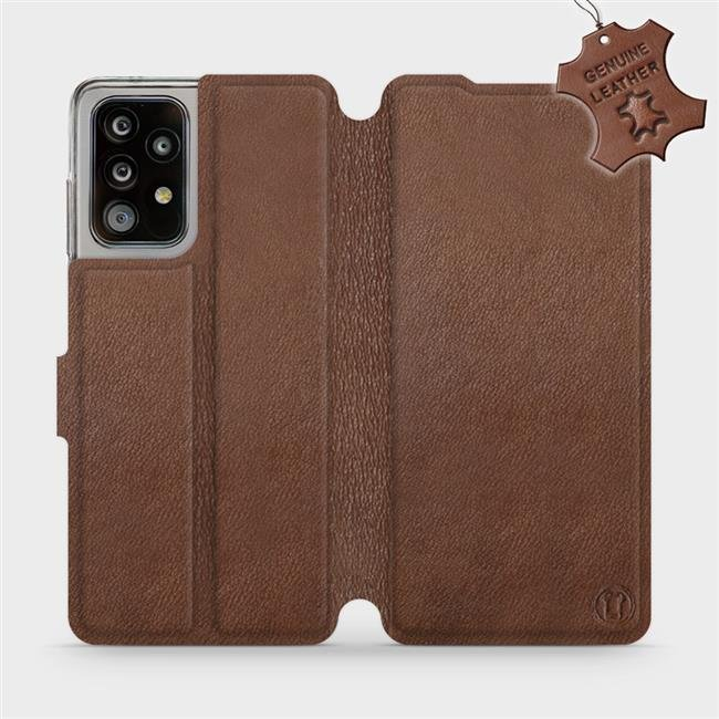 Luxusní kožené flip pouzdro Mobiwear Samsung Galaxy A52 / A52 5G / A52s 5G - Hnědé - L_BRS Brown Leather