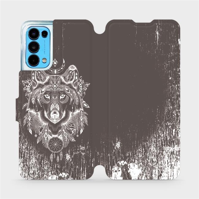 Flip pouzdro Mobiwear na mobil OPPO Reno5 5G - V064P Vlk a lapač snů