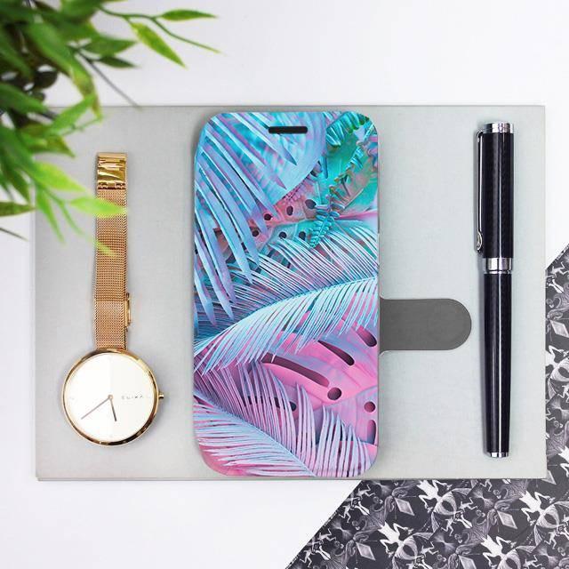 Flipové pouzdro Mobiwear na mobil Samsung Galaxy A72 - MG10S Fialové a modré listy