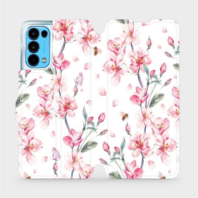 Flip pouzdro Mobiwear na mobil OPPO Reno5 5G - M124S Růžové květy
