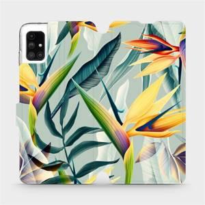 Flipové pouzdro Mobiwear na mobil Samsung Galaxy M51 - MC02S Žluté velké květy a zelené listy