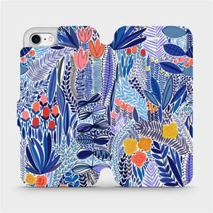 Flip pouzdro Mobiwear na mobil Apple iPhone 7 - MP03P Modrá květena