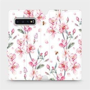 Flipové pouzdro Mobiwear na mobil Samsung Galaxy S10 Plus - M124S Růžové květy
