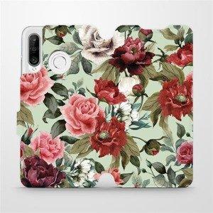 Flipové pouzdro Mobiwear na mobil Huawei P30 Lite - MD06P Růže a květy na světle zeleném pozadí