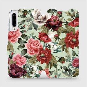 Flipové pouzdro Mobiwear na mobil Xiaomi Mi A3 - MD06P Růže a květy na světle zeleném pozadí