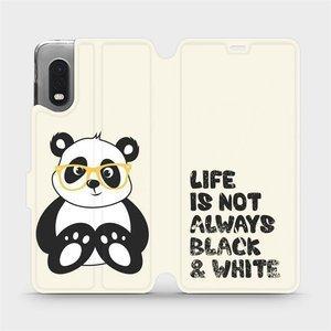 Flipové pouzdro Mobiwear na mobil Samsung Xcover PRO - M041S Panda - life is not always black and white