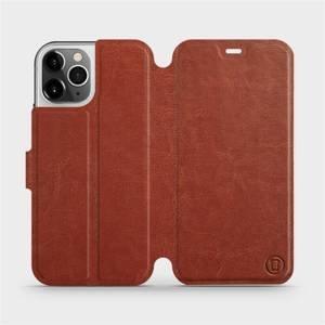 Flipové pouzdro Mobiwear na mobil Apple iPhone 12 Pro v provedení C_BRP Brown&Orange s oranžovým vnitřkem