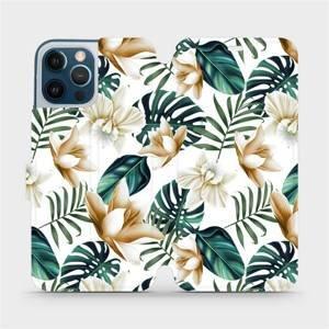 Flipové pouzdro Mobiwear na mobil Apple iPhone 12 Pro Max - MC07P Zlatavé květy a zelené listy
