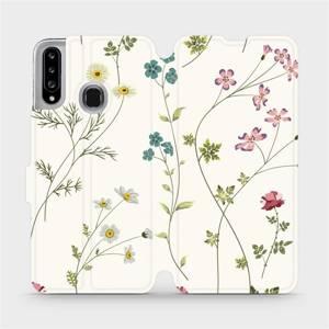 Flipové pouzdro Mobiwear na mobil Samsung Galaxy A20S - MD03S Tenké rostlinky s květy
