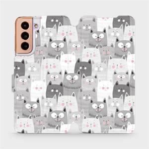 Flipové pouzdro Mobiwear na mobil Samsung Galaxy S21 5G - M099P Kočičky
