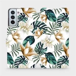 Flipové pouzdro Mobiwear na mobil Samsung Galaxy S21 Plus 5G - MC07P Zlatavé květy a zelené listy