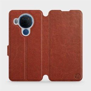 Flipové pouzdro Mobiwear na mobil Nokia 5.4 v provedení C_BRP Brown&Orange s oranžovým vnitřkem