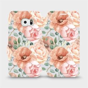Flip pouzdro Mobiwear na mobil Samsung Galaxy S6 Edge - MP02S Pastelové květy