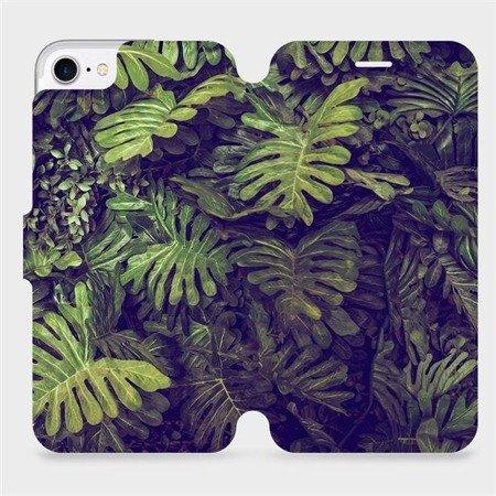 Flipové pouzdro Mobiwear na mobil Apple iPhone 7 - V136P Zelená stěna z listů