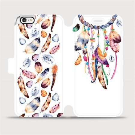 Flipové pouzdro Mobiwear na mobil Apple iPhone 6 / iPhone 6s - M003S Lapač a barevná pírka