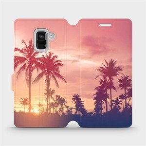 Flipové pouzdro Mobiwear na mobil Samsung Galaxy A8 2018 - M134P Palmy a růžová obloha