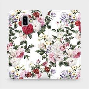 Flipové pouzdro Mobiwear na mobil Samsung Galaxy J6 Plus 2018 - MD01S Růže na bílé