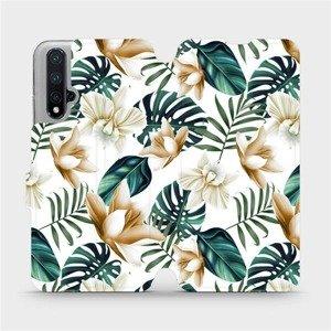 Flipové pouzdro Mobiwear na mobil Honor 20 - MC07P Zlatavé květy a zelené listy