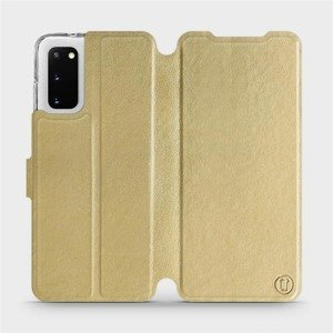 Flipové pouzdro Mobiwear na mobil Samsung Galaxy S20 v provedení C_GOS Gold&Gray s šedým vnitřkem