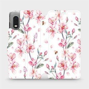 Flipové pouzdro Mobiwear na mobil Samsung Xcover PRO - M124S Růžové květy