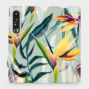 Flip pouzdro Mobiwear na mobil Sony Xperia 1 III - MC02S Žluté velké květy a zelené listy