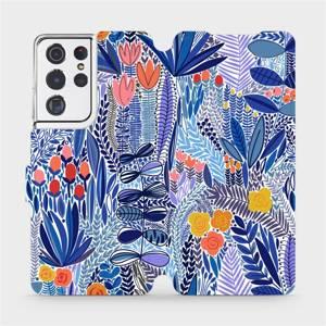 Flip pouzdro Mobiwear na mobil Samsung Galaxy S21 Ultra - MP03P Modrá květena