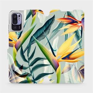 Flip pouzdro Mobiwear na mobil Xiaomi Redmi Note 10 5G - MC02S Žluté velké květy a zelené listy