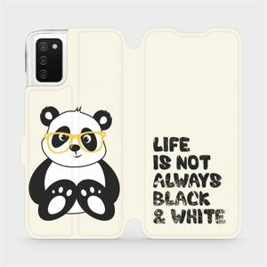 Flip pouzdro Mobiwear na mobil Samsung Galaxy A03s - M041S Panda - life is not always black and white