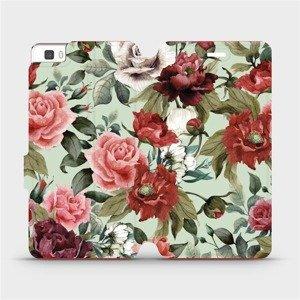 Flipové pouzdro Mobiwear na mobil Huawei P8 Lite - MD06P Růže a květy na světle zeleném pozadí