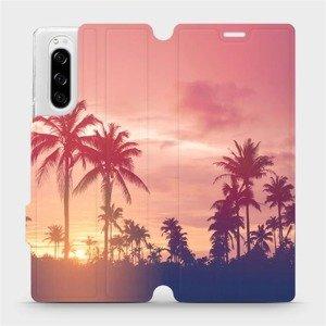 Flipové pouzdro Mobiwear na mobil Sony Xperia 5 - M134P Palmy a růžová obloha