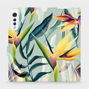 Flipové pouzdro Mobiwear na mobil LG Velvet - MC02S Žluté velké květy a zelené listy