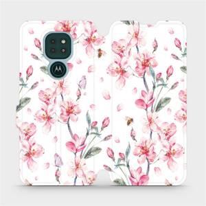Flipové pouzdro Mobiwear na mobil Motorola Moto G9 Play - M124S Růžové květy