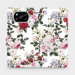 Flipové pouzdro Mobiwear na mobil Xiaomi POCO X3 NFC - MD01S Růže na bílé