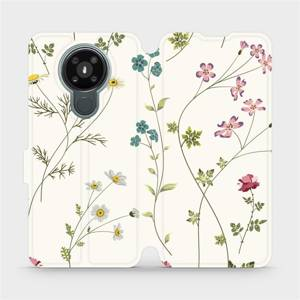 Flipové pouzdro Mobiwear na mobil Nokia 3.4 - MD03S Tenké rostlinky s květy