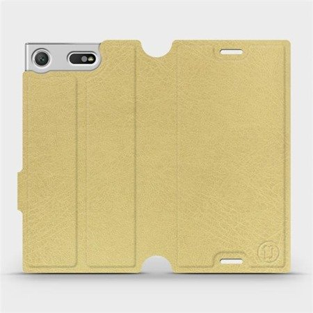 Parádní flip pouzdro Mobiwear na mobil Sony Xperia XZ1 Compact v provedení C_GOS Gold&Gray s šedým vnitřkem