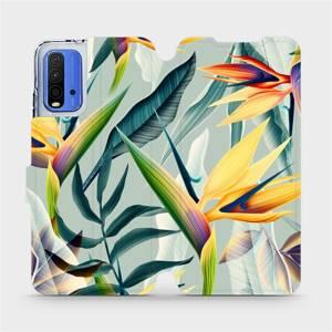 Flipové pouzdro Mobiwear na mobil Xiaomi Redmi 9T - MC02S Žluté velké květy a zelené listy