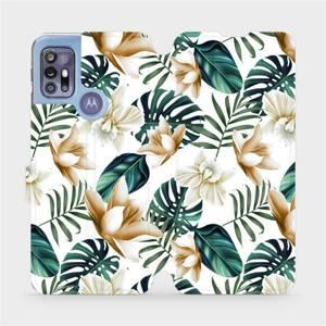 Flipové pouzdro Mobiwear na mobil Motorola Moto G30 - MC07P Zlatavé květy a zelené listy