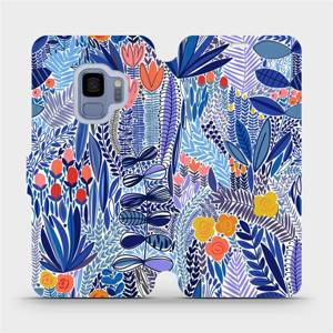 Flip pouzdro Mobiwear na mobil Samsung Galaxy S9 - MP03P Modrá květena