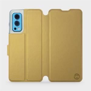 Flip pouzdro Mobiwear na mobil OnePlus Nord 2 5G v provedení C_GOS Gold&Gray s šedým vnitřkem