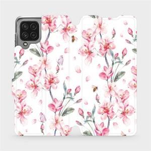 Flip pouzdro Mobiwear na mobil Samsung Galaxy M22 - M124S Růžové květy