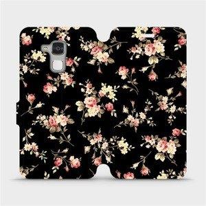 Flipové pouzdro Mobiwear na mobil Honor 7 Lite - VD02S Květy na černé