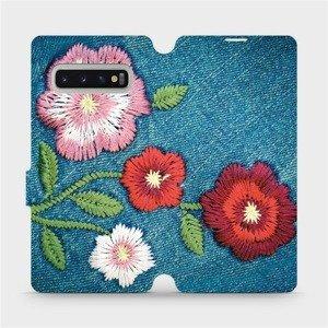 Flipové pouzdro Mobiwear na mobil Samsung Galaxy S10 Plus - MD05P Džínové květy