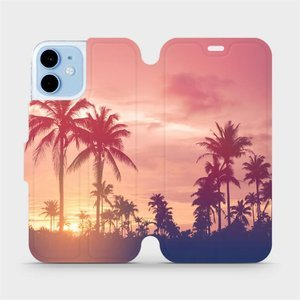 Flipové pouzdro Mobiwear na mobil Apple iPhone 12 mini - M134P Palmy a růžová obloha