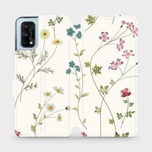 Flipové pouzdro Mobiwear na mobil Realme 7 Pro - MD03S Tenké rostlinky s květy