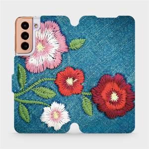 Flipové pouzdro Mobiwear na mobil Samsung Galaxy S21 5G - MD05P Džínové květy