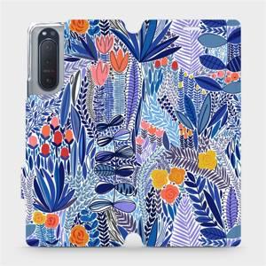 Flip pouzdro Mobiwear na mobil Sony Xperia 5 II - MP03P Modrá květena