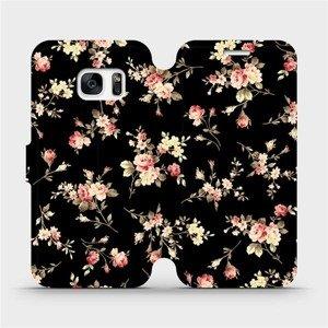 Flipové pouzdro Mobiwear na mobil Samsung Galaxy S7 - VD02S Květy na černé