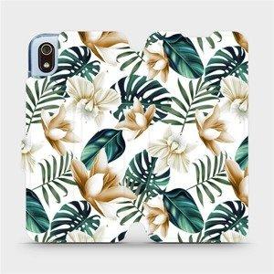 Flipové pouzdro Mobiwear na mobil Xiaomi Redmi 7A - MC07P Zlatavé květy a zelené listy